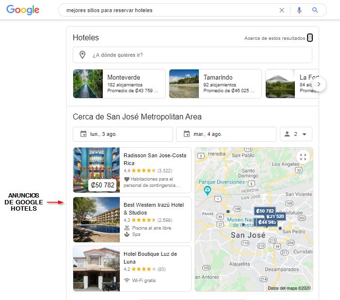 anuncios de Google Hotels