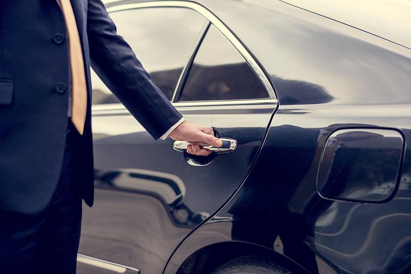Businessman Handle Limousine Door Car.jp