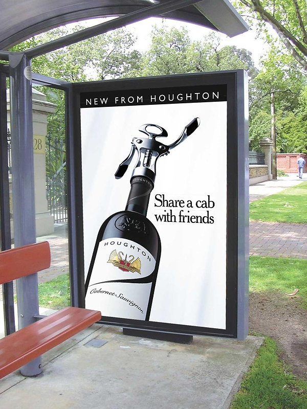 houghton wies bus shelter advert - share a cab with friends