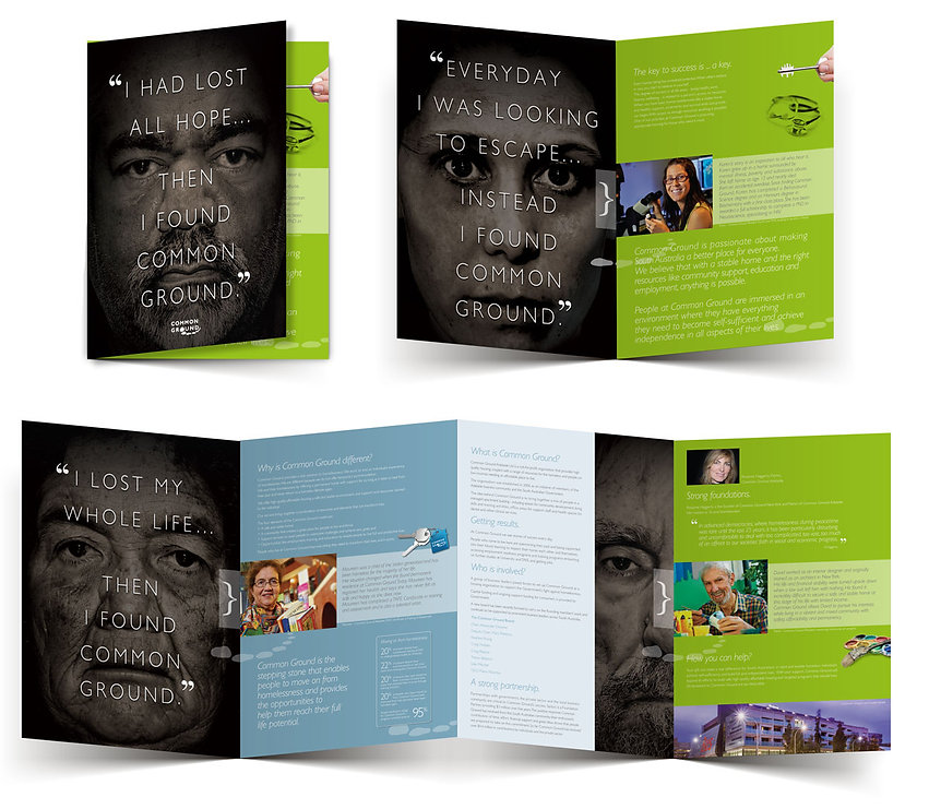 common ground adelaide corporate branding campaign: brochure example