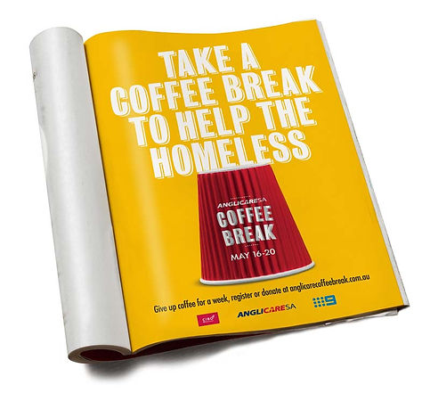 anglicare magazine full page advert for their coffee break campaign
