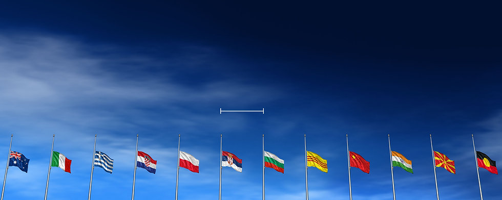 International flags from all around the world on a blue sky background