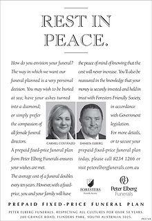 peter elberg funerals 'rest in peace' newspaper advert