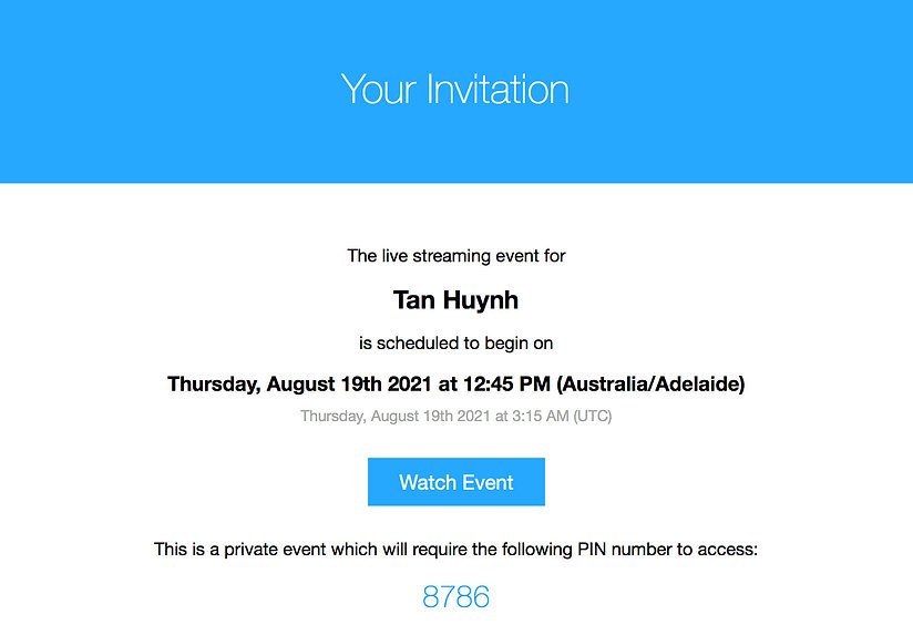 invitation to watch video