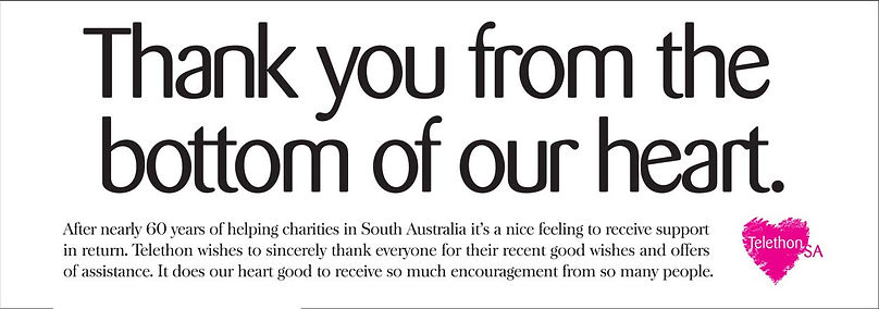 telethon s newspaper advert: corporate thank you message