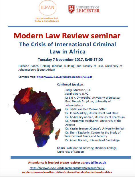 Upcoming event: Crisis of International Criminal Law in Africa, Modern Law Review seminar, 7 Novembe