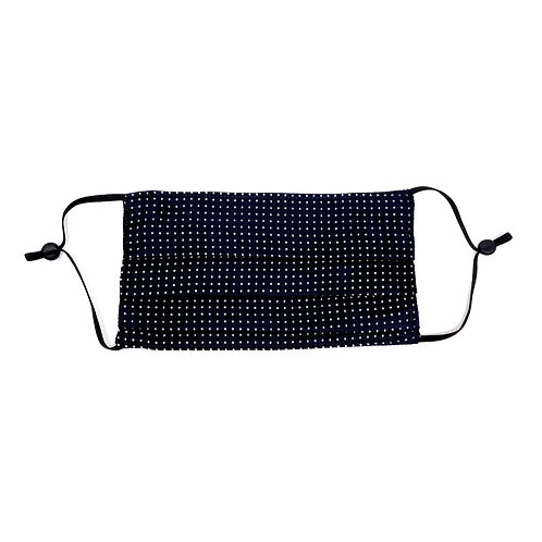 Silk Face Mask - Polka Dot Navy