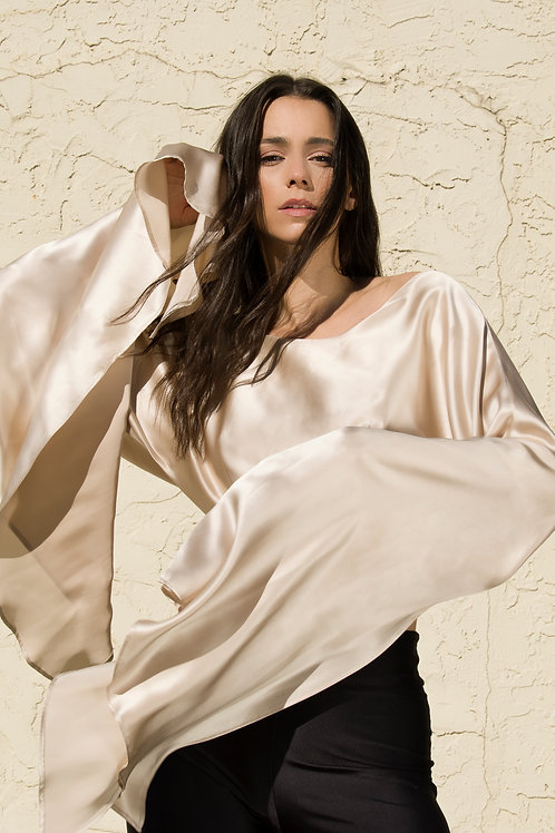 The Show Stopper Top in Beige Silk