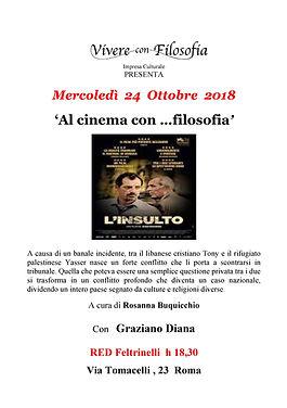 Al cinema con filosofia - 24-10-18 RED Feltrinelli via Tomacelli 23 Roma - con Graziano Diana