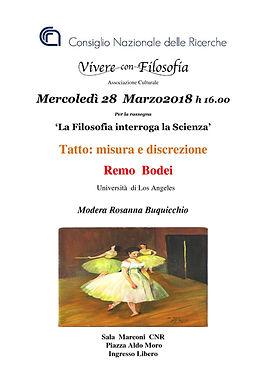 Vivere con Filosofia presenta: Tatto misura e discrezione con Prof.re Remo Bodei - Roma 28/03/2018 - CNR Sala Marconi