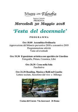 Vivere con Filosofia presenta: Festa del decennale - Roma 30/05/2018 - Casina del Curato