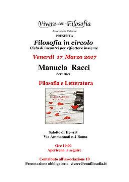 Vivere con Filosofia presenta: Filosofia e Letteratura con la scrittrice Manuela Racci - 17-03-17 h 19.00 Roma - He-Art via Ammannati 4
