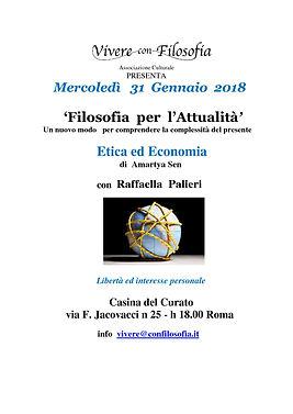 Vivere con Filosofia presenta: Etica ed Economia con Prof.ssa Raffaella Palieri - Roma 31/01/2018 - Casina del Curato