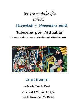 07/11/18 Cosa è il corpo? - Vivere con Filosofia - Roma - Maria Novella Tacci