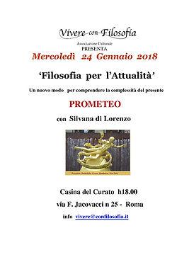 Vivere con Filosofia presenta: Prometeo con Prof.ssa Silvana di Lorenzo - Roma 24/01/2018 - Casina del Curato