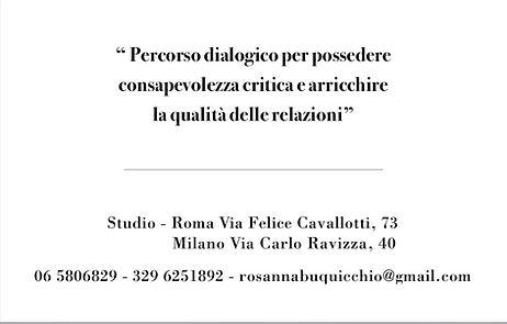 Dott.ssa Rosanna Buquicchio - Counselor Filosofico - Studio d Consulenza Filosofica - Roma Via F. Cavallotti 73 - Milano Via C. Ravizza 40 - Info e prenotazioni 06/5806829 - 329/6251892 - mailto: rosannabuquicchio@gmail.com