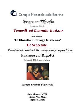 Vivere con Filosofia presenta: De Senectute con Prof.ssa Francesca Rigotti - Roma 26/01/2018 - Sala Marconi CNR