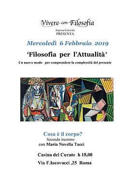 Vivere con Filosofia - Cosa è il corpo - Maria Novella Tacci -Casina del Curato Roma - Via F. Jacovacci, 25 - 06/02/19 ore 18.00