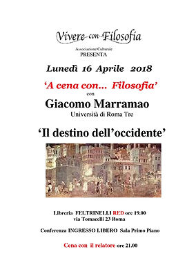 Vivere con Filosofia presenta: Il destino dell'occidente con Prof.re Giacomo Marramao - Roma 16/04/2018 - Libreria Feltrinelli RED via Tomacelli 23 - Roma
