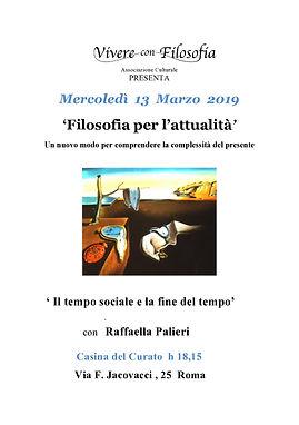 13/03/2019 - Vivere con Filosofia - Il tempo sociale e la fine del tempo - con Raffaella Palieri - Casina del Curato Roma ore 18.15