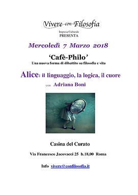 Vivere con Filosofia presenta: Cafè-Philo Alice con Adriana Boni - Casina del Curato Roma 07/03/2018