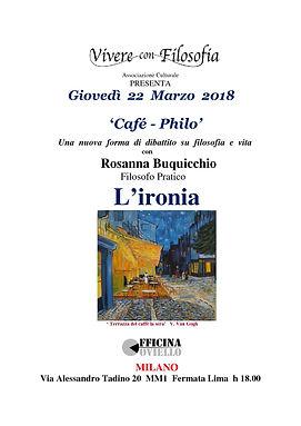 Vivere con Filosofia presenta: L'ironia - Officina Coviello Milano 22/03/2018