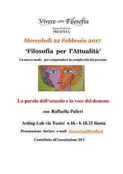 Vivere con Filosofia presenta: La parola dell'oracolo e la voce del demone - Raffaella Palieri - Acting Lab via Tunisi 16 - h 18,15 Roma