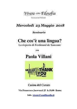 Vivere con Filosofia presenta: Che cos'è una lingua? con Paola Villani - Roma 23/05/2018 - Casina del Curato