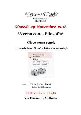 Vivere con Filosofia - 29-11-18 Gioco senza regole - con Francesca Brezzi - Red Feltrinelli Via Tomacelli 23 Roma