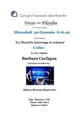 Vivere con Filosofia - Roma - CNR - Barbara Carfagna - Codice la vita è digitale - Modera Rosanna Buquicchio