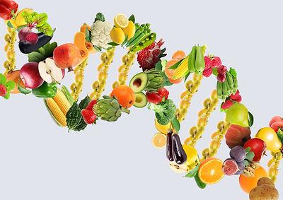 Nutrigenetics concept DNA strand made wi