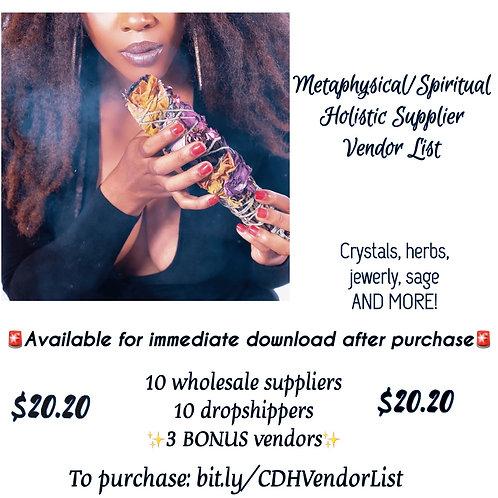 CDH Metaphysical/Holistic Vendor List