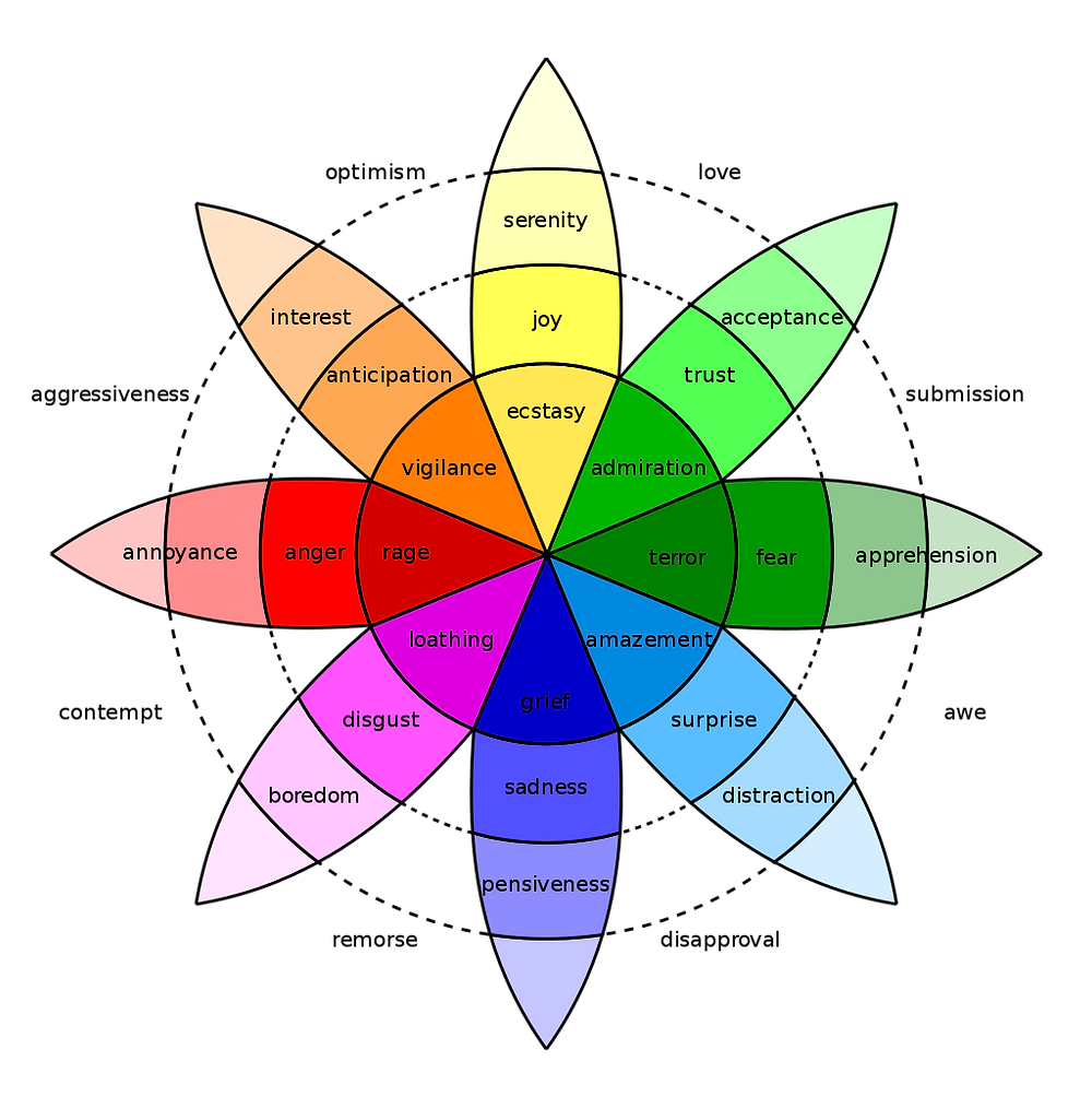 Emotional healing begins with identifying and naming emotions from a place of non-judgement. We all feel a variety of emotions, and our emotions constantly change. Many emotions are more or less intense versions of other emotions, as you can see in the Wheel of Emotions.