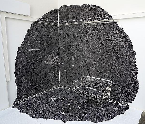 Bodo Kunstforening, Live drawing, performance art, The Straight Line is Godless and Immoral, Ingeborg Blom Andersskog Norwegian Artist