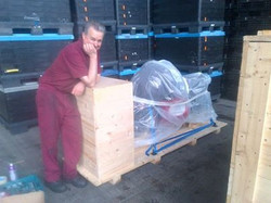 Crated up for the long journey A