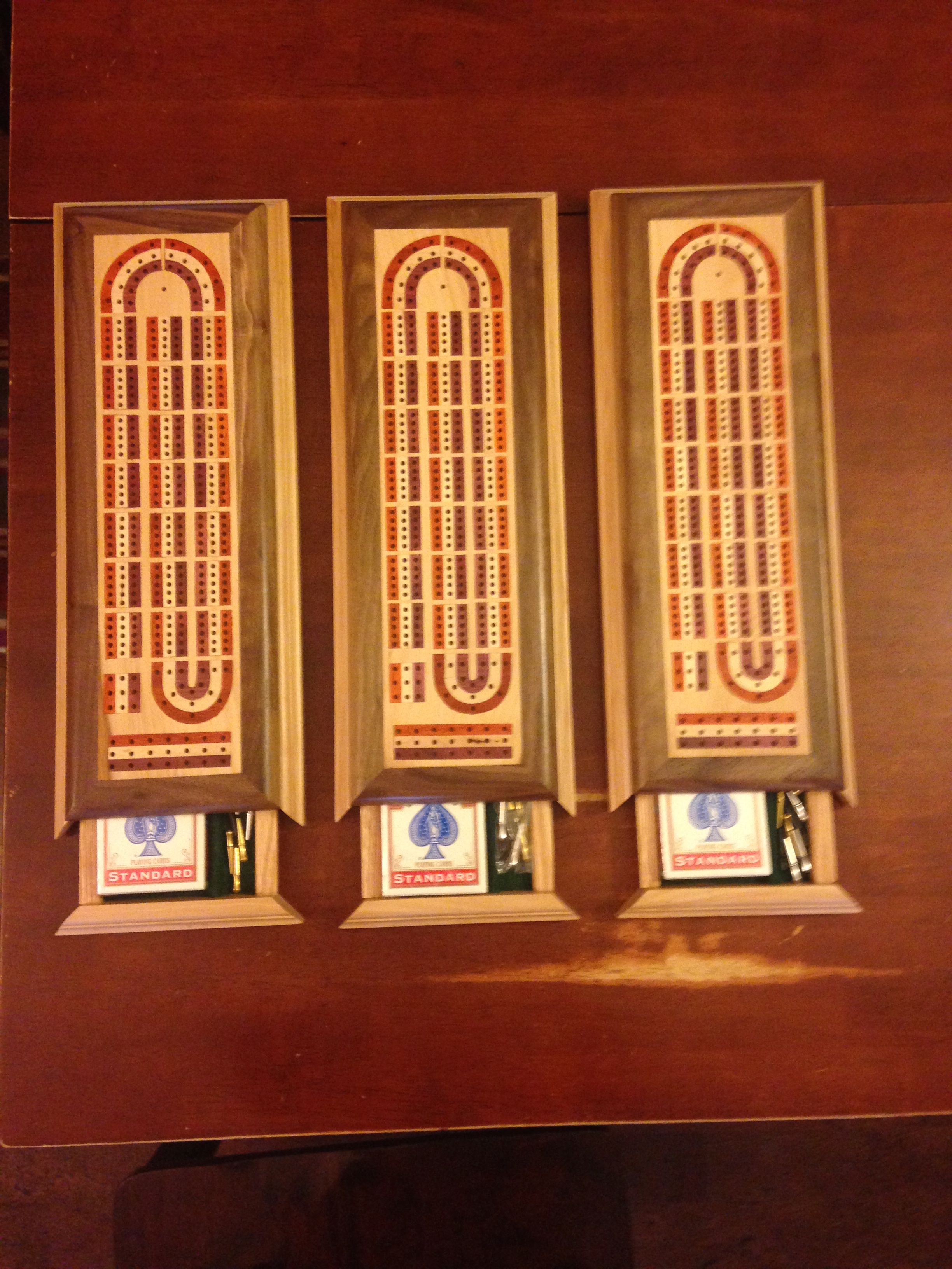 Inlayed Cribbage Boards & Card Trays