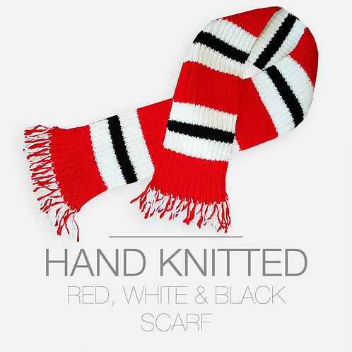 HAND KNITTED RED, WHITE & BLACK SCARF