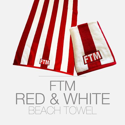 FTM RED & WHITE BEACH TOWEL