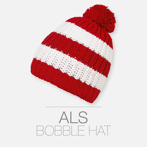 HAND KNITTED RED AND WHITE BOBBLE HAT