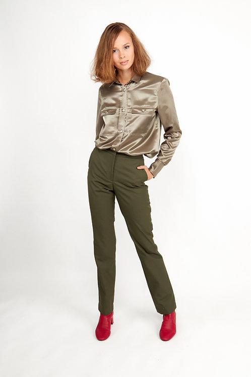 Catarina Shell Button Shirt -Olive Green