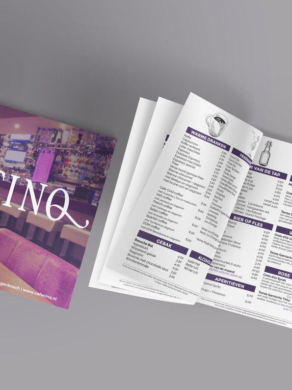 Cafe Cinq menukaart