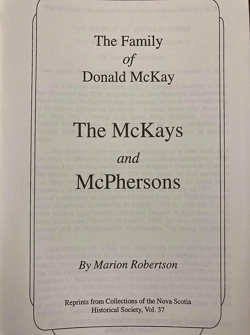 The Family of Donald McKay; The Mckays and McPhersons