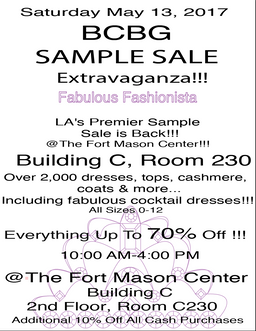 saturday may 13 2017 - Bcbg Sample Sale