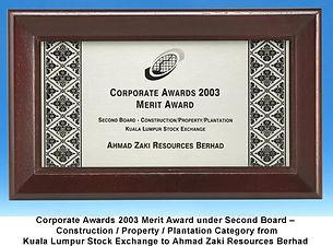 2003 - Corporate Awards 2003 Merit Award