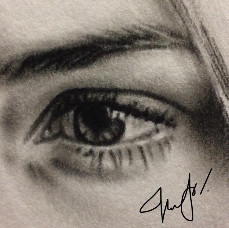 realistic charcoal eye