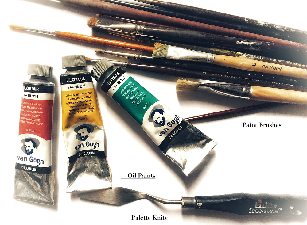 Oil Painting Supplies. Oil Paints, Paint Brushes and Palette Knife