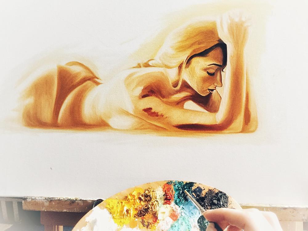 Oil painting on canvas, palette, hand, paint brush, glazing technique