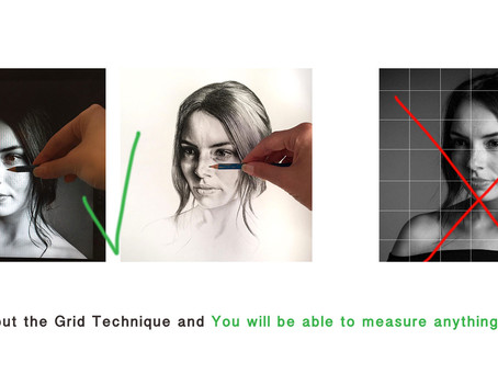 "Tip #3 ""Measuring"" (how to draw a perfect charcoal portrait with a reference)"