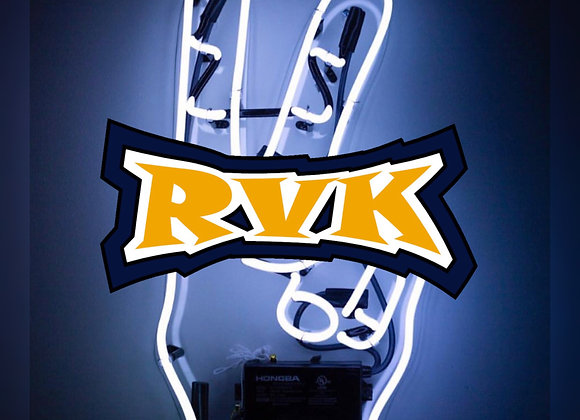 Square Blue Sticker - Gold RVK Logo on Deuces