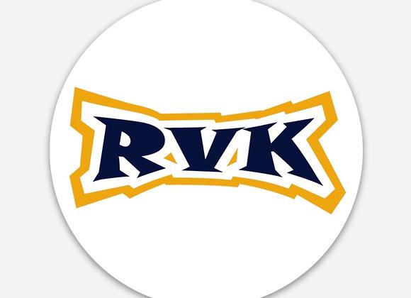 Round White Sticker - Gold&Blue RVK Logo